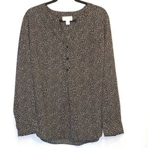 Pure Energy Black Polka Dot Henley V Neck Blouse